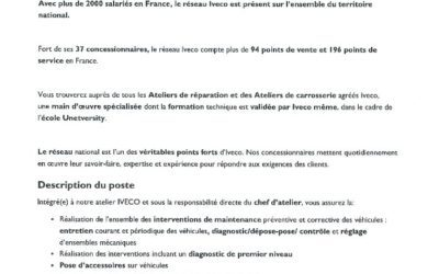 IVECO Mécanicien PL – Juin 2018